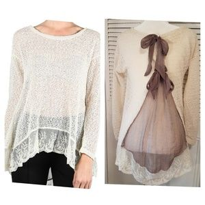 A'reve ivory bow back sheer lace sweater top small